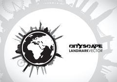 Abstract world landmarks Stock Illustration