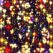 Festive background with bright stars - stock illustration