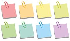 Paper Clips Notepads Colors - stock illustration