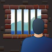 Confinement Prisoner Detainee Man Jail - stock illustration