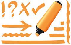 Highlighter Orange Marker - stock illustration