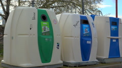 Recycling public containers, bins - France - zoom out Stock Footage
