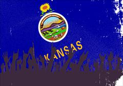 Kansas State Flag with Audience - stock illustration