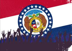 Missouri State Flag with Audience - stock illustration