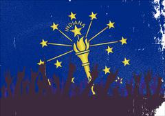 Indiana State Flag with Audience Stock Illustration