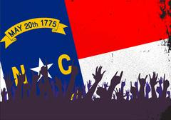 North Carolina State Flag with Audience Stock Illustration