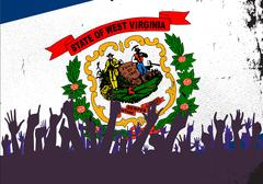 West Virginia State Flag with Audience Stock Illustration