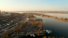 Aerial of Dnepropetrovsk city and marina on sunset Stock Footage