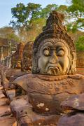 Stone carved statues of Devas in Cambodia Stock Photos
