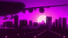 Winnipeg Canada Airplane Landing Skyline Purple Violet Background - stock footage