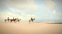 People on a horseback ride. Girls riding horses in the desert - stock footage