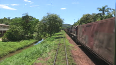 Point of view of railroad train. Moving vehicle going forward. Stock Footage