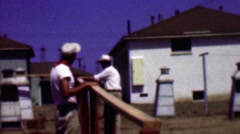 1957: Construction men debating project details on clear summer skies. Stock Footage