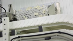 dumplings freeze after going to the packaging line - stock footage