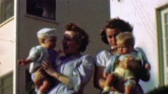 1957: Neighbor baby boomers mothers newborn boys better competition. Stock Footage