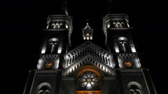 Black and white night lighting with brown selective color of the Cathedral Stock Footage