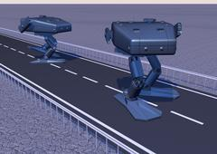 Walking combat robot - stock illustration