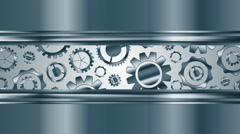 Abstract tech metallic video animation with gears mechanism - stock footage