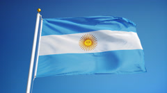 Argentina flag in slow motion seamlessly looped with alpha Stock Footage