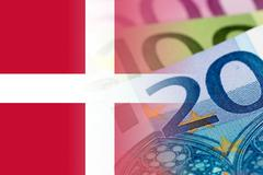 denmark flag with euro banknotes - stock illustration