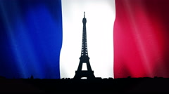 Eiffel Tower Silhouette Over French Flag With  Loop Ready Stock Footage