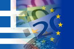 Greece and eu flags with euro banknotes Stock Illustration