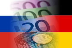 russia and germany flags with euro banknotes and ruble coin - stock illustration