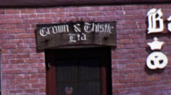 1962: Crown & Thistle Bakery and Konditori external building. Stock Footage