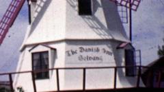 1962: Solvang Danish Inn Dutch style windmill. Stock Footage