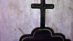 1962: Santa Ines Mission historic church hand carved wood sign. Stock Footage