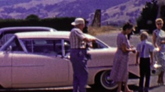 1962: Family vacation trip historic spanish mission ancient ruins. - stock footage