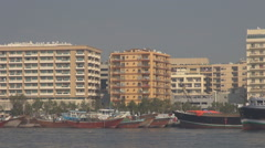 Deira creek in Dubai vessel transportation on river water boat anchor old town  Stock Footage