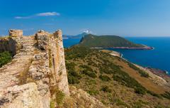 view from Paleokastro wall - stock photo