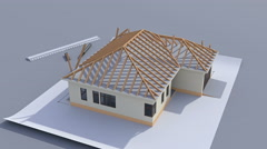 Building a house with a hip roof. 3d animation of house construction. Stock Footage
