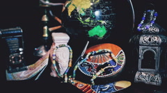 Travel around the globe, Souvenirs, Passport Stock Footage