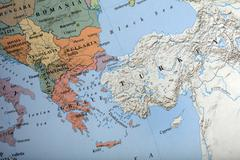 map of te balkans countries illustrative editorial image - stock photo