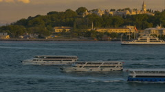 Multiple Passenger ferries Bosporus straits Istanbul Turkey Sunset. Stock Footage
