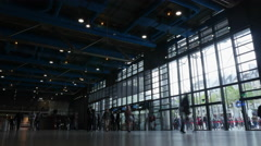 Timelapse of tourists at Pompidou Centre entrance Stock Footage