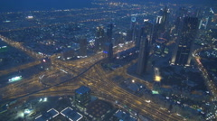 Aerial view of Dubai downtown traffic car on interchange infrastructure icon  Stock Footage