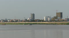 Buildings at the Tonle Sap River side in Phnom Penh Cambodia Stock Footage