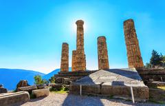 ruins of Apollo temple in Ancient Delphi - stock photo
