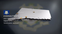 3D animated Map of Connecticut Stock Footage