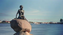Timelapse of boat traffic by the Little Mermaid statue Stock Footage