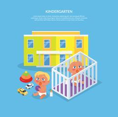 Kindergarten Design Flat Banner Stock Illustration