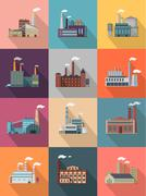 Set of Building Plant or Industrial Factory Piirros