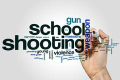 School shooting word cloud Stock Photos