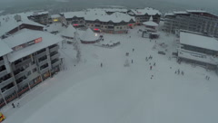 Flying over the territory of ski resort Ruka, Finland Stock Footage