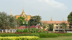 The Royal palace seen from Wat Bottom Park in Phnom Penh Cambodia Stock Footage