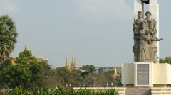 Statue at Wat Bottom Park in Phnom Penh Cambodia Stock Footage
