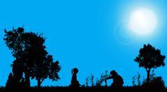 Vector silhouettes of children. - stock illustration